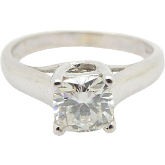 Solid 14K White Gold 0.85ct Cushion Cut Moissanite Solitaire Engagement Ring Sz 7.25