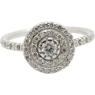 Solid 14K White Gold 0.50cttw F-VS Round Diamond Eternity Engagement Ring Sz 5.75