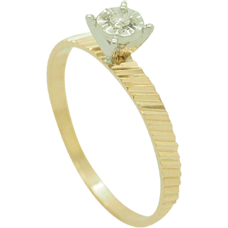 Solid 14K Yellow Gold 0.02ct H-SI Round Diamond Solitaire Engagement Ring Sz 6.5