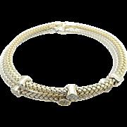 "Two Solid 14K Yellow & White Gold 0.50ctw Round Diamond Woven Bangle Bracelet-8"""