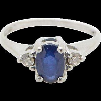 Solid Platinum/950 0.55cttw Oval Blue Sapphire w/Diamond Accents Engagement Ring Sz 5.5