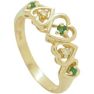 Solid Vintage 14K Yellow Gold 0.10cttw Round Emerald & Diamond Heart Filigree Cocktail Ring Sz 6
