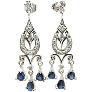 Solid 14K White Gold 1.50cttw Blue Sapphire w/Diamond Accents Dangle Drop Earrings