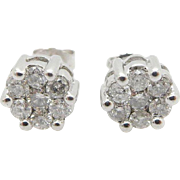 Solid 14K White Gold 0.50cttw G-SI Round Diamond Flower Stud Screwback Earrings