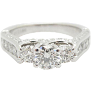 Solid 14K White Gold 1.30cttw G-SI Round 3-Stone Diamond w/Accents Engagement Ring; Sz 5.25