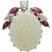 Solid 14K White Gold 21.65cttw Opal w/Marquise Cut Red Ruby & F-VS Diamond Accents Pin/Brooch