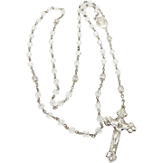 """Solid Sterling Silver/925 Rosary White Clear Beads Religious Cross Necklace-24"""""""