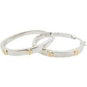 Solid 14K/585 White Gold & Yellow Gold Screw Leverback Hoop Earrings; Italy