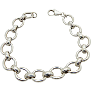 "Solid Sterling Silver/925 Rolo Link 11mm Bracelet, 8"" Italy (13 gr)"