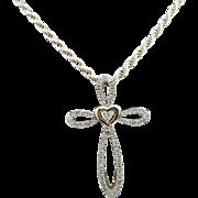 "AV Sterling Silver/925 & 14K Yellow Gold 0.20cttw Round Diamond Religious Cross Pendant Rope Necklace-16"""