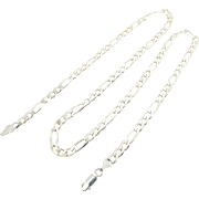 """Solid Vintage Sterling Silver/925 5.5mm Figaro Chain Necklace-24""""-Italy (23.2gr)"""