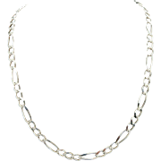 """Solid Vintage Sterling Silver/925 5.5mm Figaro Chain Necklace-24""""-Italy (18.3gr)"""