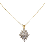 """Solid 14K Yellow Gold 0.05cttw H-SI Round Diamond Flower Pendant Necklace-16"""""""