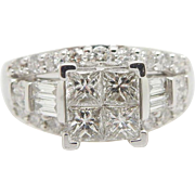 Ladies Solid 14K White Gold 1.50cttw F-VS Princess Cut Brilliant Diamond Solitaires with Round and Baguette Cut Accents Engagement Ring Sz 8