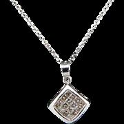 "Solid 14K White Gold 0.30ctw G-SI Princess Cut Diamond Dangle Pendant Necklace-16"""