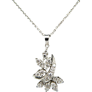 "Solid 14K White Gold 0.35cttw F-VS Diamond Flower Pendant Necklace-16"""