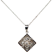 "Solid 14K White Gold 0.25cttw H-SI Round & Baguette Diamond Dangle Pendant Necklace-16"""
