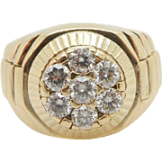 Solid Vintage 18K Yellow Gold 1.25cttw G-VS1 Round Diamond Mens Band Ring; Sz 10.5