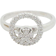 Solid Vintage TEUFEL 14K White Gold 0.50ctw F-VS Round Diamond Spinner Flower Ring; Sz 7