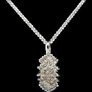"""Solid 14K White Gold 1.00cttw H-SI Princess & Baguette Diamond Pendant Necklace-16"""""""