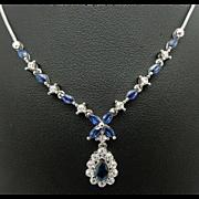 "Solid Vintage 14K White Gold 1.25cttw Blue Sapphire w/Round Diamond Accents Lariat Necklace-16"""