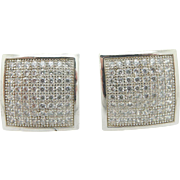 Solid Sterling Silver/925 0.50cttw H-SI Round Pavee Diamond Square Stud Screwback Earrings