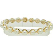 """Solid 14K Yellow Gold 6.5mm Round Natural Pearl Bracelet-7"""""""