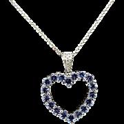 "Solid 10K White Gold 1.02cttw Round Tanzanite w/Diamond Accents Heart Pendant 14L White Gold Chain Necklace-16"""