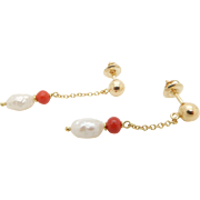 Solid 18K Yellow Gold 5mm Freshwater Pearl & Red Jasper Dangle Drop Screwback Earrings