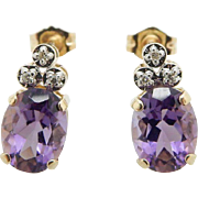 Solid 14K Yellow Gold 2.50cttw Oval Amethyst & Diamond Accents Stud Earrings