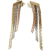 Solid Vintage 14K Tri-Color Gold Dangle Butterfly Fastening Earrings