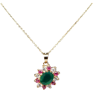 """Solid Vintage 22K Yellow Gold Sythentic Emerald, Ruby & CZ Pendant w/14K Yellow Gold Chain Necklace-16"""""""