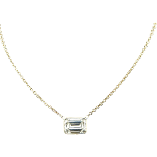 """Solid 14K Yellow Gold 2.03ct H-VS2 Emerald Cut Diamond Solitaire Necklace-16"""""""