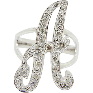 """Solid 14K White Gold 0.25cttw H-SI Round Diamond Inital """"A"""" Cocktail Band Ring Sz 6.75"""