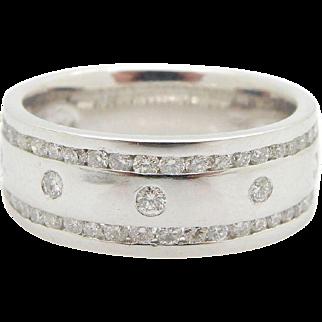 Solid 14K White Gold 0.65cttw F-VS Round Diamond Mens Wedding Band Ring Sz 10.5