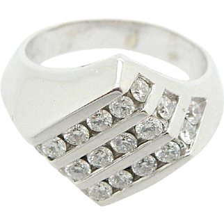 Mens Solid 14K White Gold 1.25cttw G-SI Round Diamond Band Ring Sz 7.5