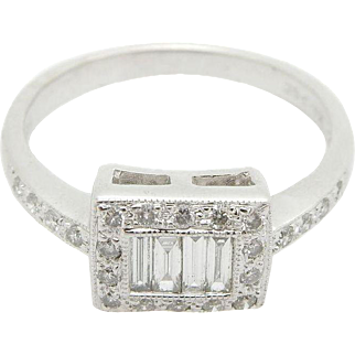 Solid 14K White Gold 0.50cttw G-VS Baguette & Round Diamond Cocktail Band Ring Sz 7.25