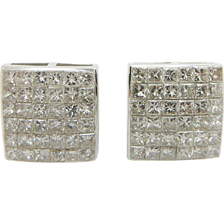 Solid 14K White Gold 2.00cttw H-SI Princess Diamond Square Stud Screwback Earrings