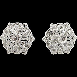 Solid 14K White Gold 0.50cttw G-VS Round Diamond Filigree Flower Stud Earrings