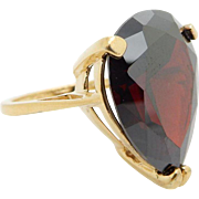 Solid Sterling Silver/925 Gold Plated 12.00ct Pear Cut Red Garnet Gemstone Band Ring Sz 7