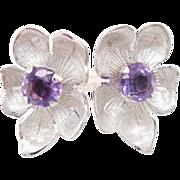 Solid Vintage 14K White Gold 2.50cttw Round Amethyst Flower Screwback Earrings