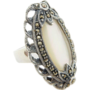 Solid Sterling Silver/925 Oval Mother of Pearl with Round Marcasite Accents Filigree Cocktail Band Ring Sz 5.5