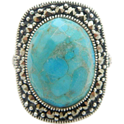 NF Solid Vintage Sterling Silver/925 Oval Turquoise w/Marcasite Cocktail Ring 7