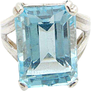 Solid Vintage Sterling Silver/925 8.50ct Emerald Cut Blue Topaz Cocktail Ring 6