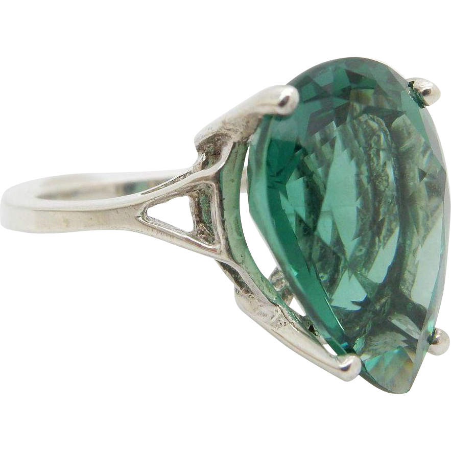 Solid Sterling Silver/925 10ct Pear Cut Green Topaz Solitaire Cocktail Ring 5.5