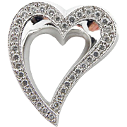 Solid 18K White Gold 0.50cttw Round Brilliant Diamond Open Heart Slider Pendant