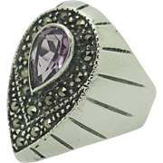 FAS Solid Sterling Silver/925 1.75ct Pear Amethyst w/Marcasite Cocktail Ring 6.5