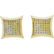 14K Yellow Gold 0.50cttw White & Yellow Round Diamond Pavee Square Stud Earrings
