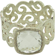 Solid Sterling Silver/925 3.90ct Cushion Cut Solitaire Cubic Zirconia Filigree Engagement Ring Sz 11