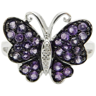 JWBR Solid Sterling Silver/925 0.75ctw Round Amethyst & Diamonds Butterfly Ring